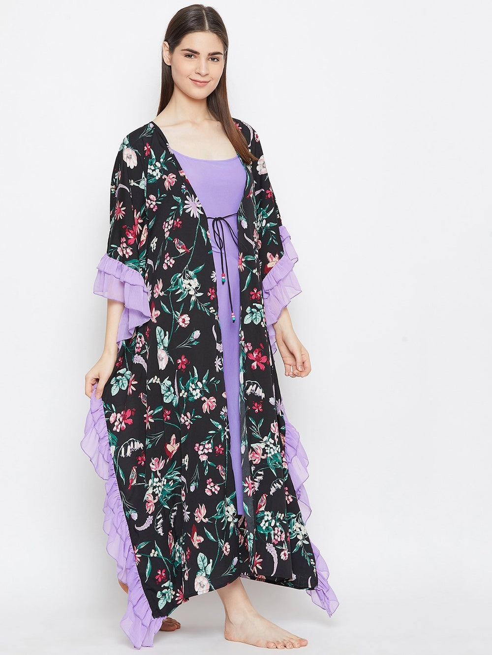 BLACK PRINTED KAFTAN GOWNSET WITH SLIP