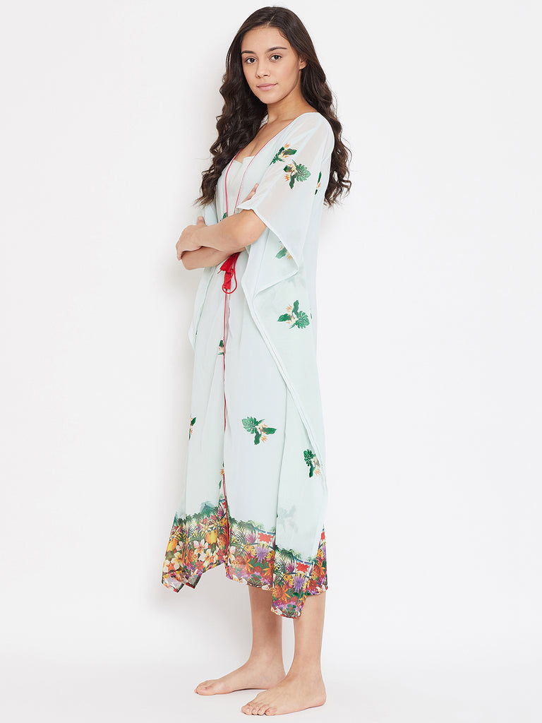 TROPICAL PRINTED KAFTAN GOWN SET WITH SLIP
