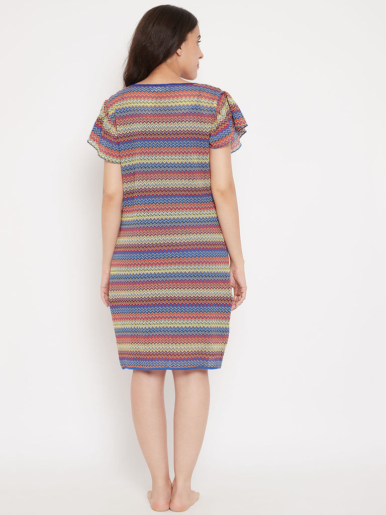 Rainbow Striped Short Gown Set