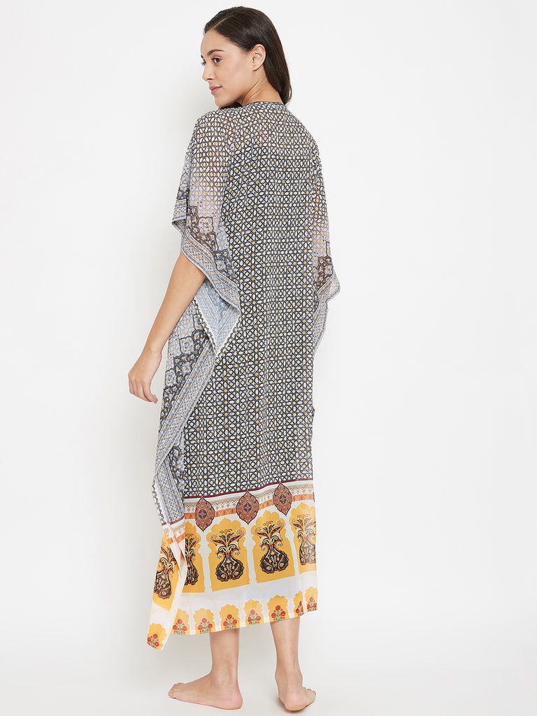 Starry Polygon Sheer Kaftan with Slip