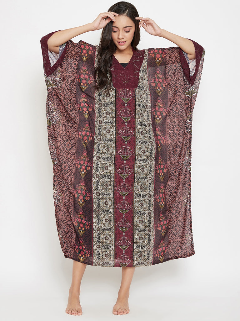 Laced Up Geometry Sheer Kaftan with Slip