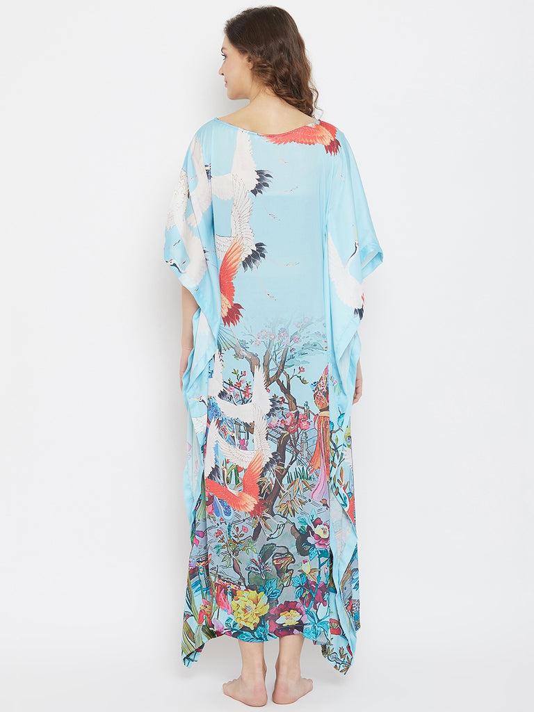 Japanese Art Blue Satin Loungewear Kaftan