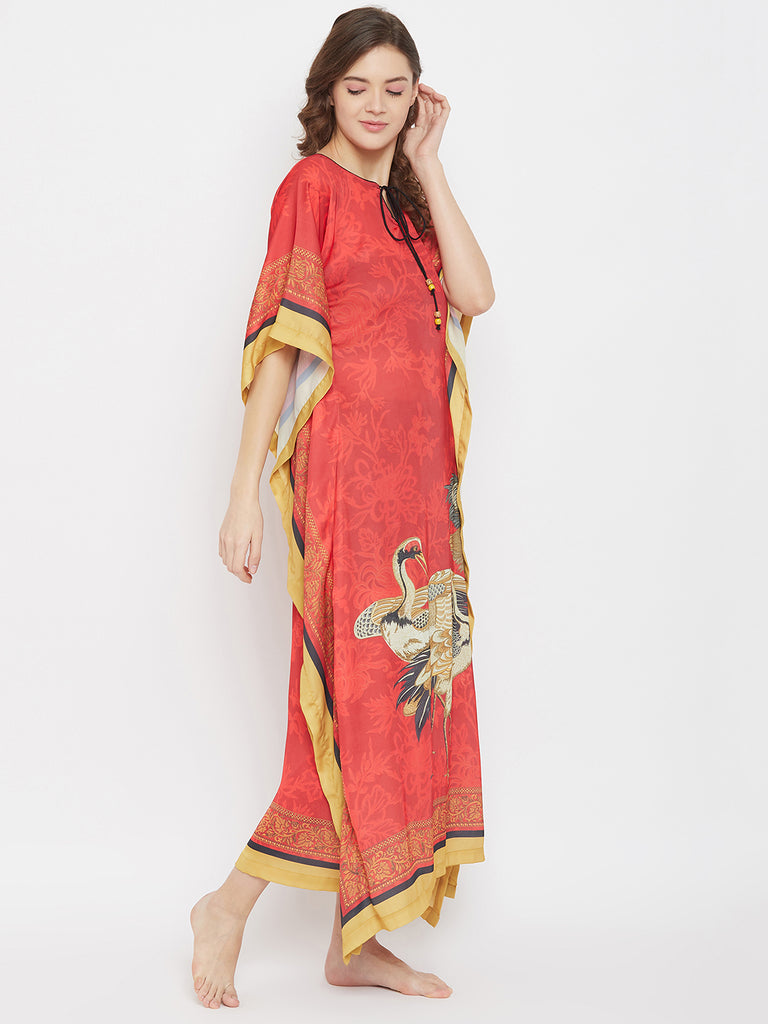 Japanese Art Red Satin Loungewear Kaftan