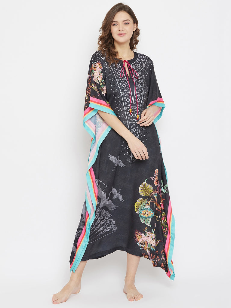 Imperial Yard Black Satin Printed Loungewear Kaftan with Multicolor Stripe Border