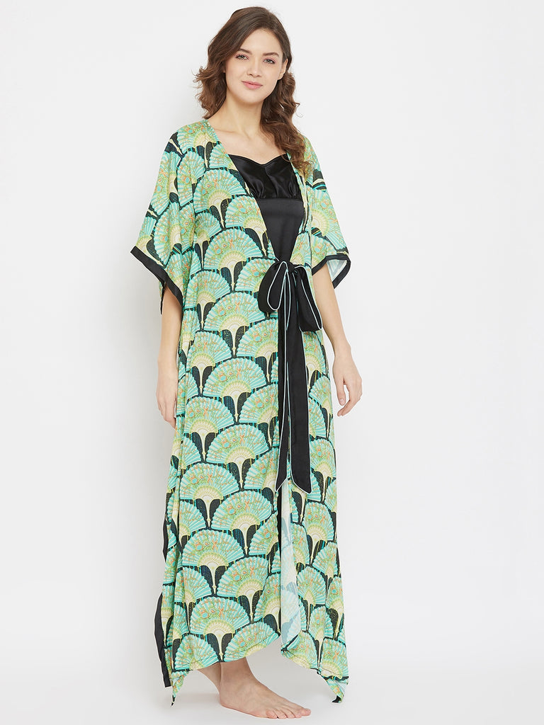 Imperial Blooms Green Satin Kaftan Gownset with Slip