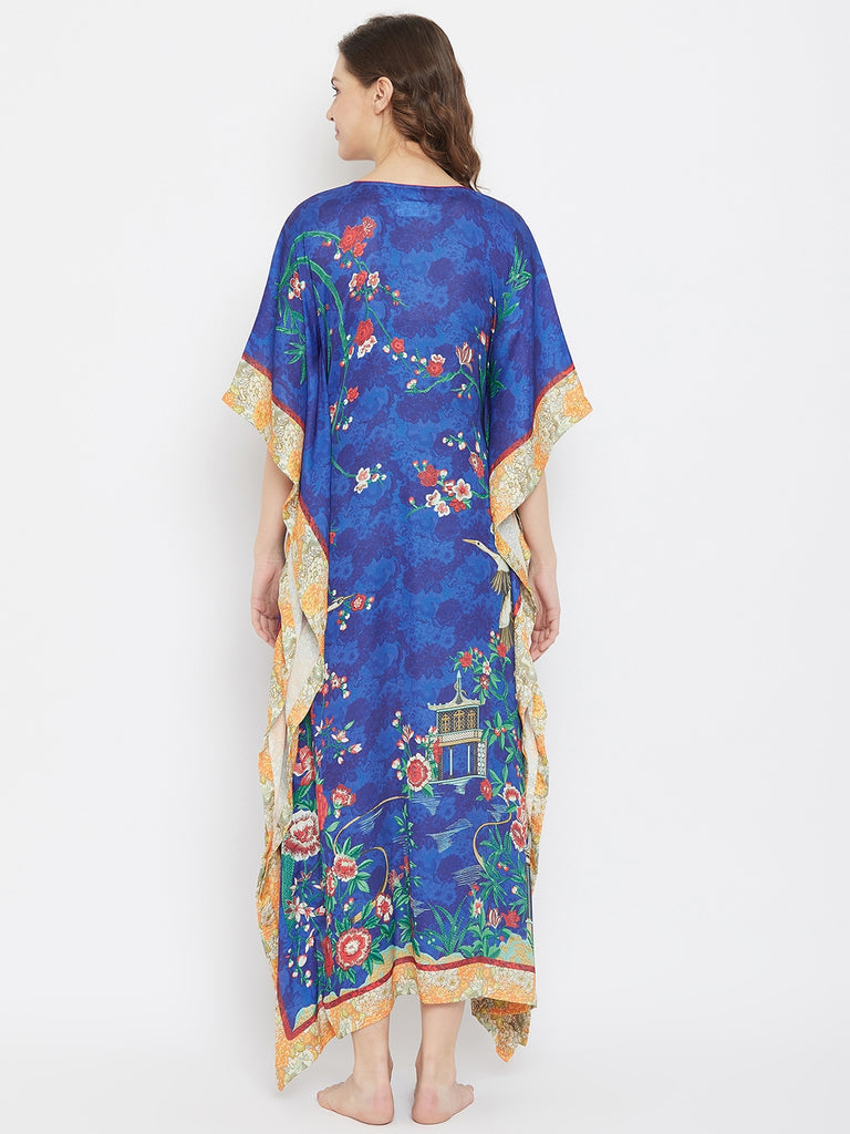 Imperial Yard Blue Satin Loungewear Kaftan