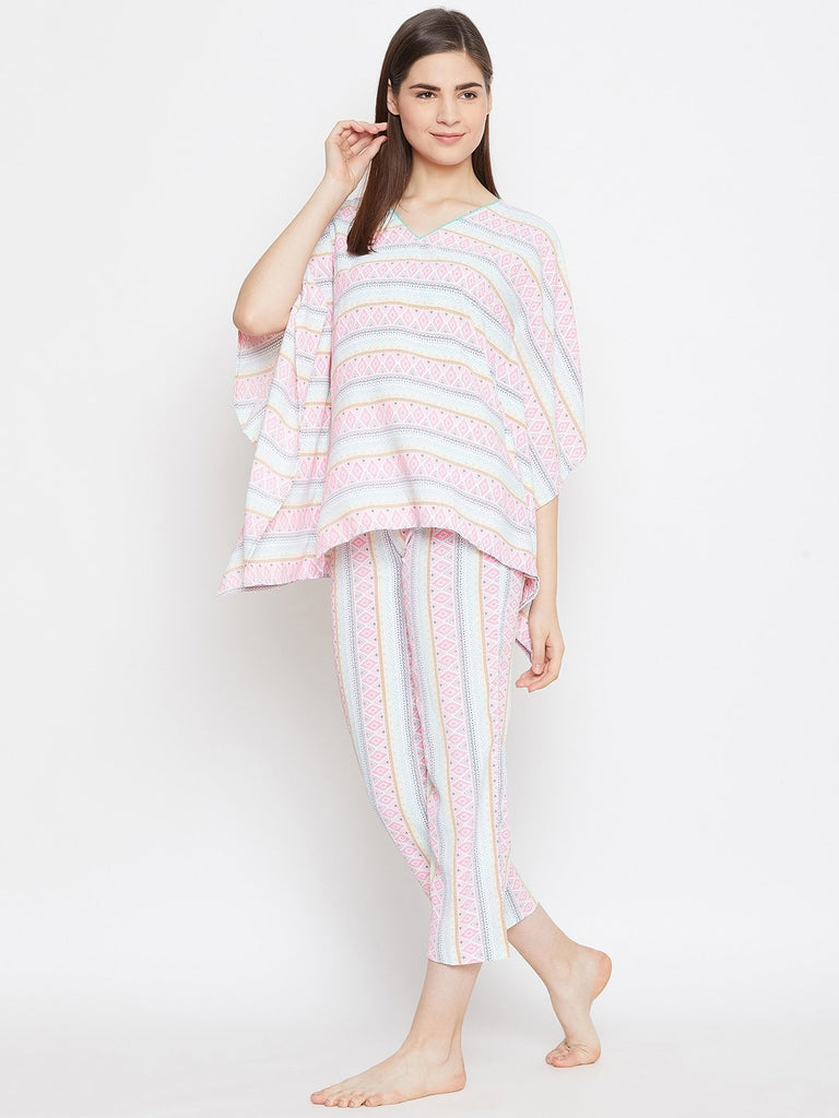 WHITE PRINTED KAFTAN PYJAMA SET