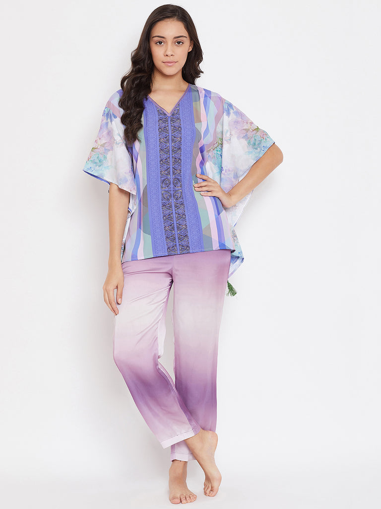 PURPLE HUES PRINTED KAFTAN PYJAMA SET