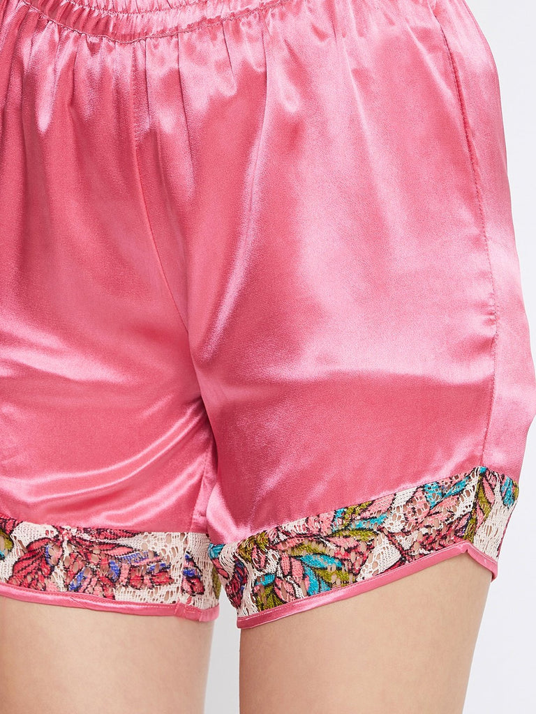 LACED UP BLUSH KAFTAN SHORTS SET