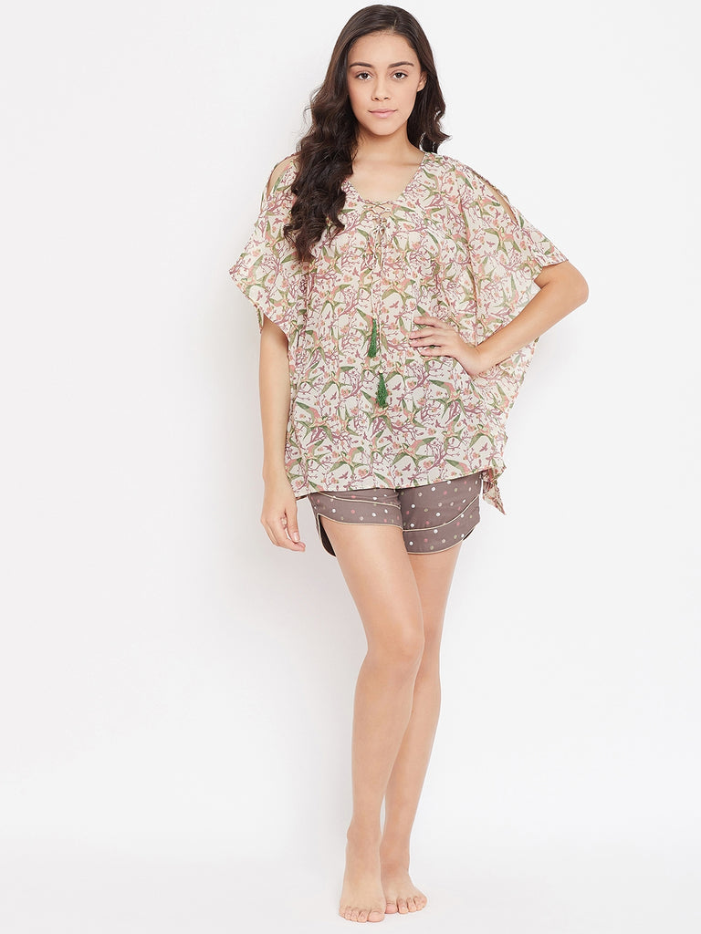BEIGE PRINTED KAFTAN SHORTS SET