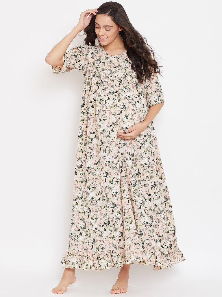 BEIGE PRINTED MATERNITY NIGHTDRESS