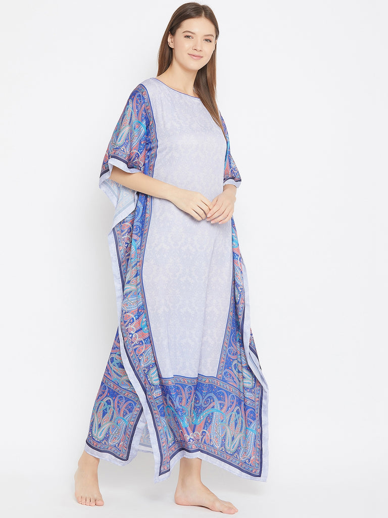 Pastel Grey Silky Satin Kaftan with Blue Borders