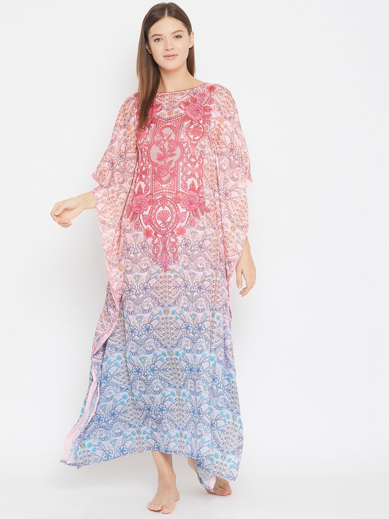 Ombre Floral And Geomtric Printed Satin Kaftan