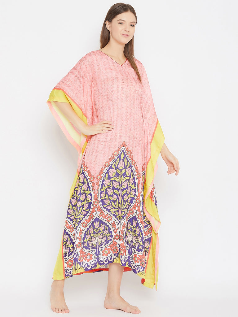 Pastel Pink and Yellow Printed Satin Kaftan