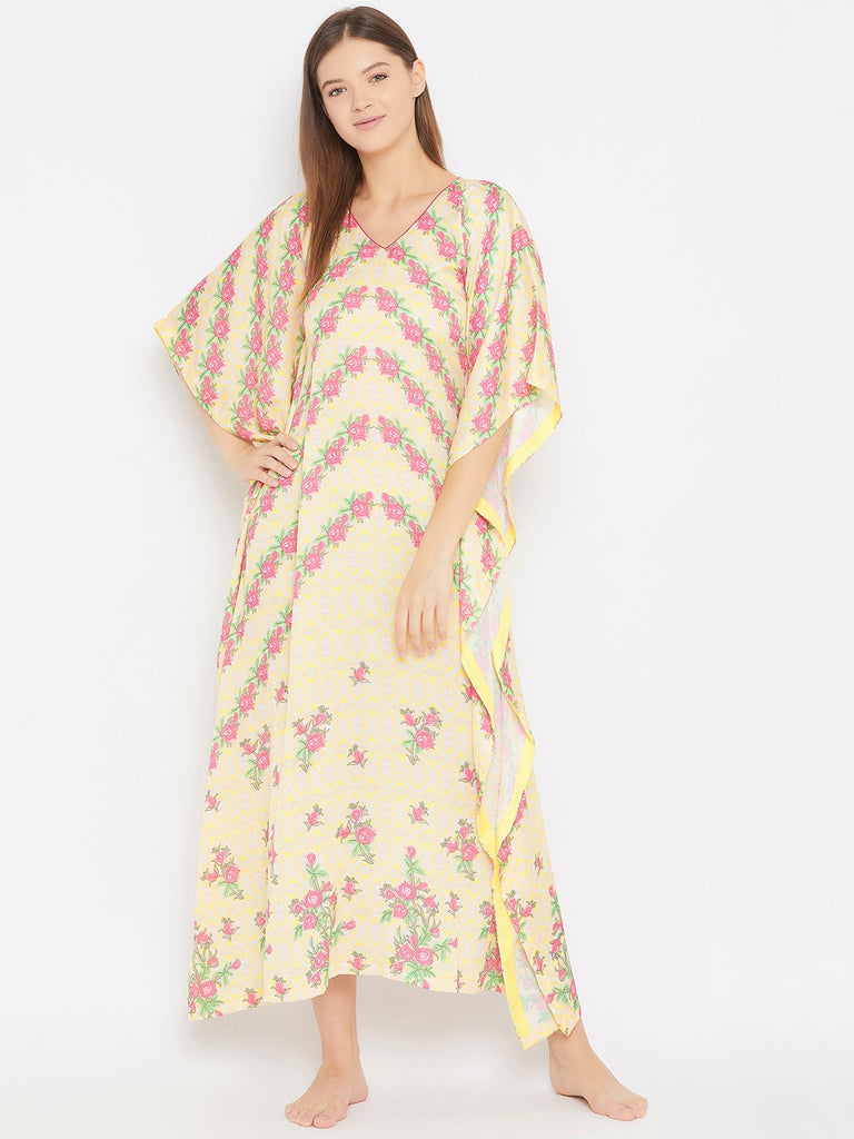 Roses And Geomtric Print Satin Kaftan