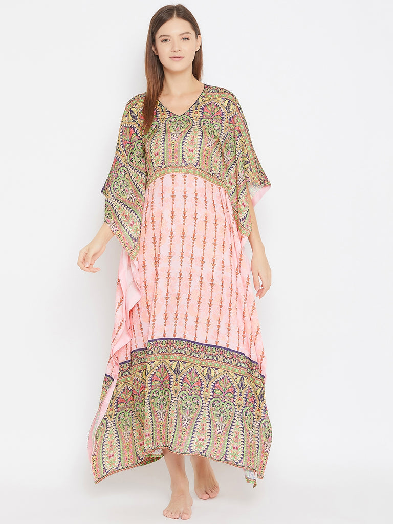 Paisley Motif Print Satin Kaftan With Border Detail