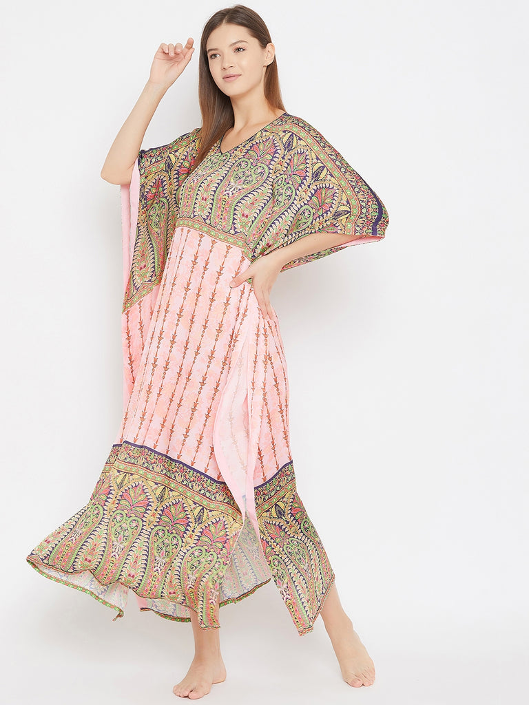 Paisleys on Pastel Pink Printed Satin Kaftan