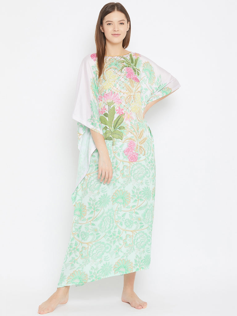 Mint Green Rose And Geomtric Print Satin Kaftan