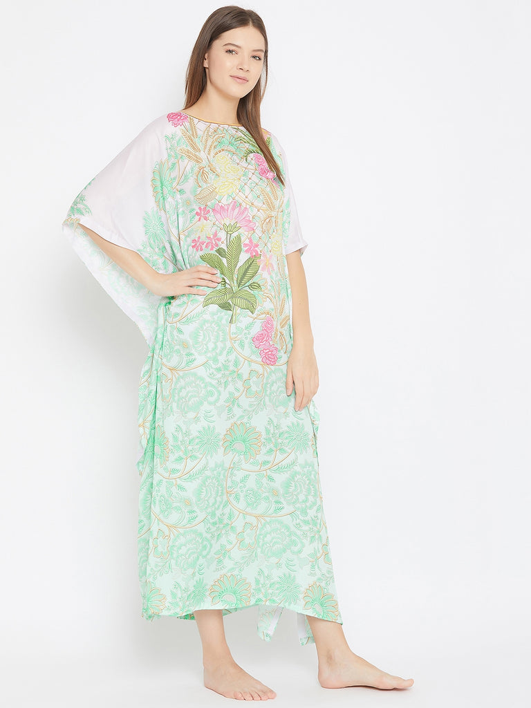 Floral Bunch Printed Silky Satin Kaftan