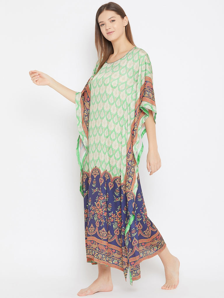 Green and Beige Printed Silky Satin Kaftan