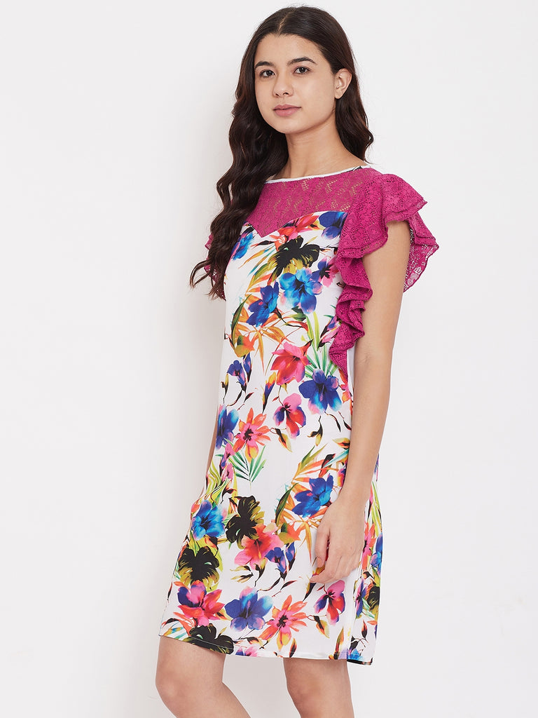 Pink Floral Sleepdress with Lace Yoke