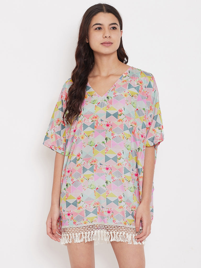 Pastel Triangles Kaftan with Fringes