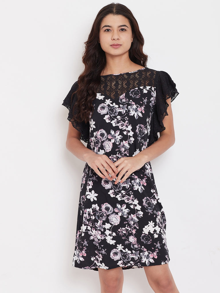 Black Floral Sleepdress with Lace
