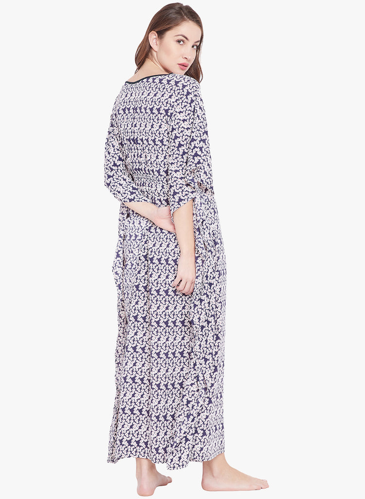 Blue Printed Loungewear Kaftan