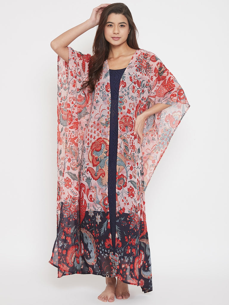 Floral Printed Kaftan Gown with Navy Lace Slip
