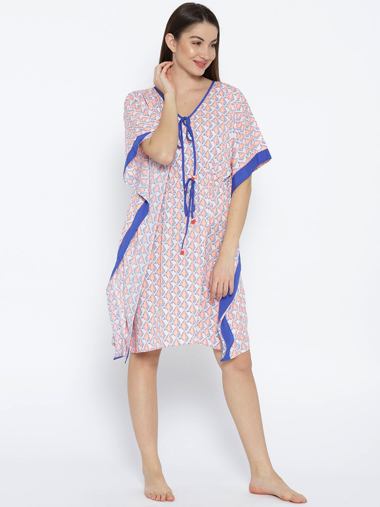 Off-White & Peach-Coloured Printed Nightdress