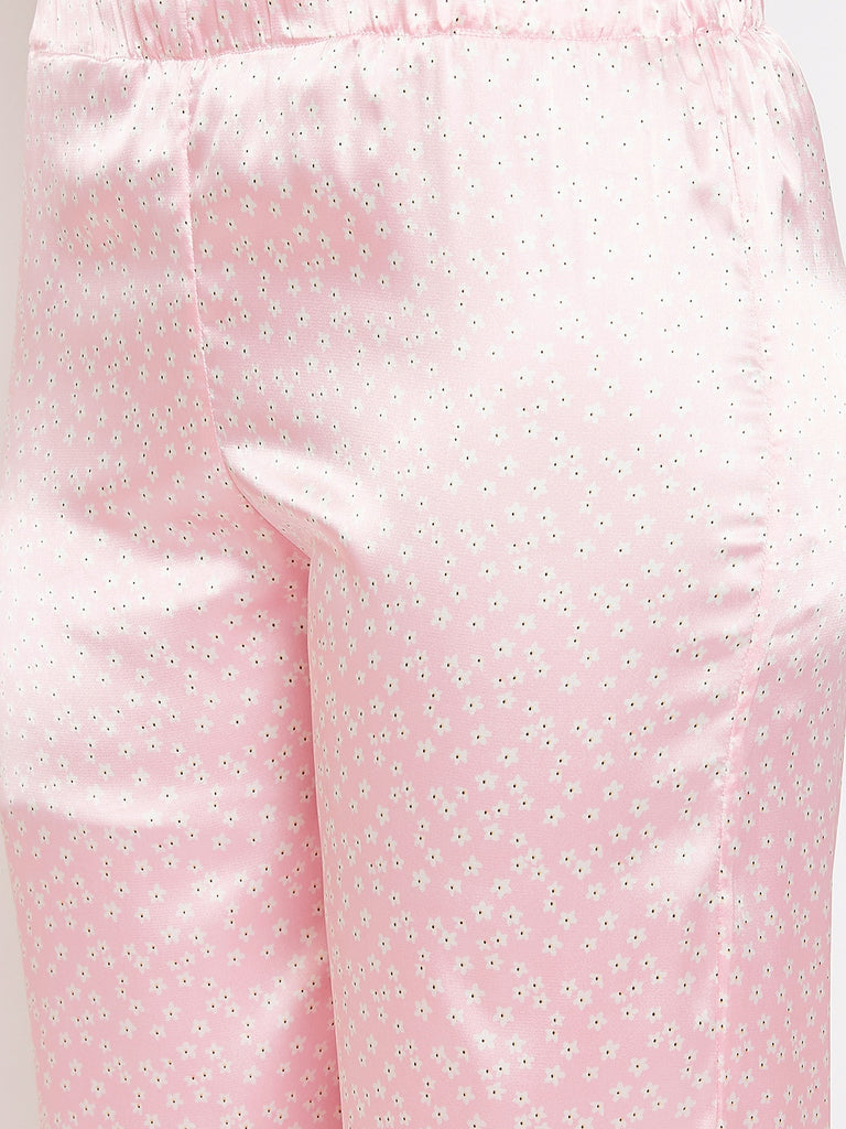 Ditsy Floral Powder Pink Satin Pyjama Set