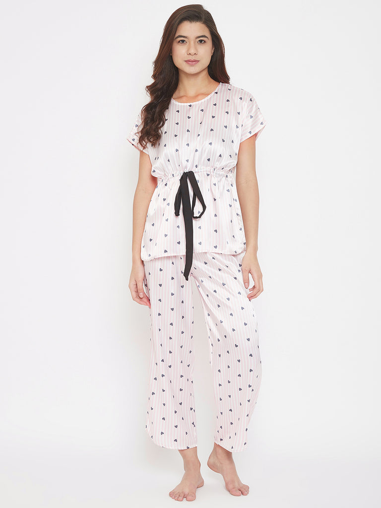Striped Hearts Printed Pink Satin Pyjama Set with Waist Tie-Up