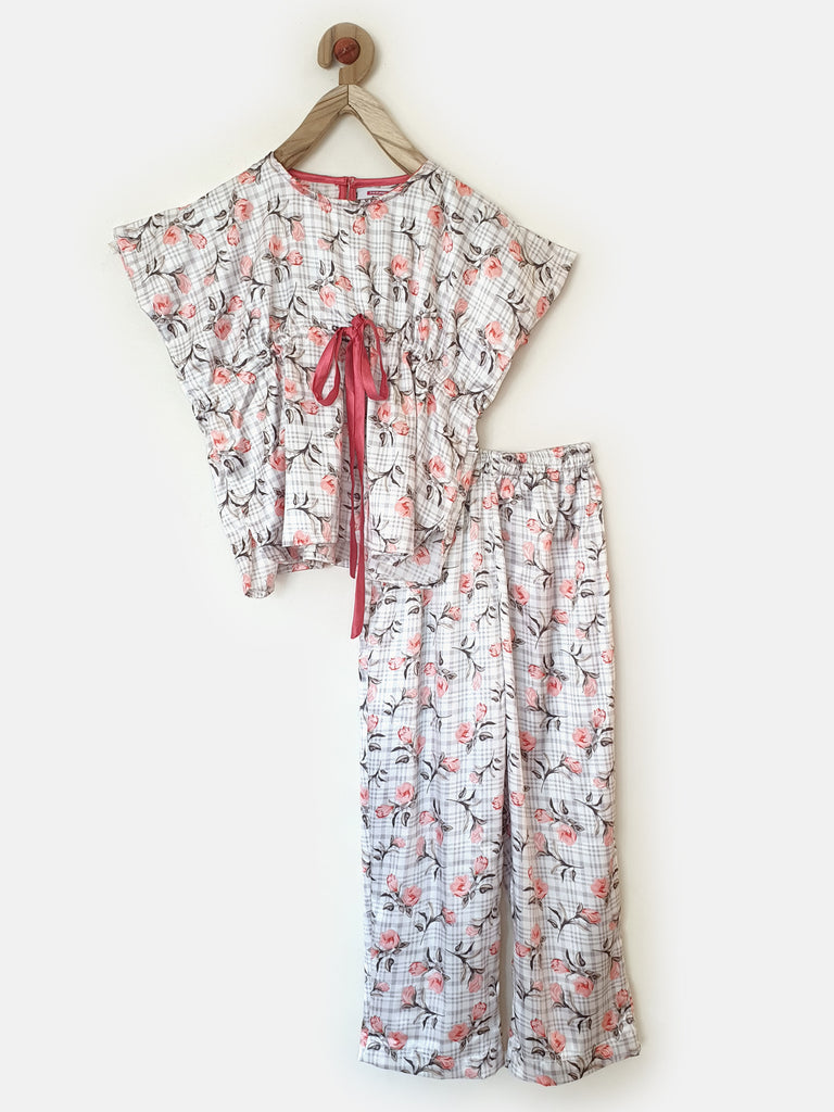 Satiny Blooms Girls Pyjama Set