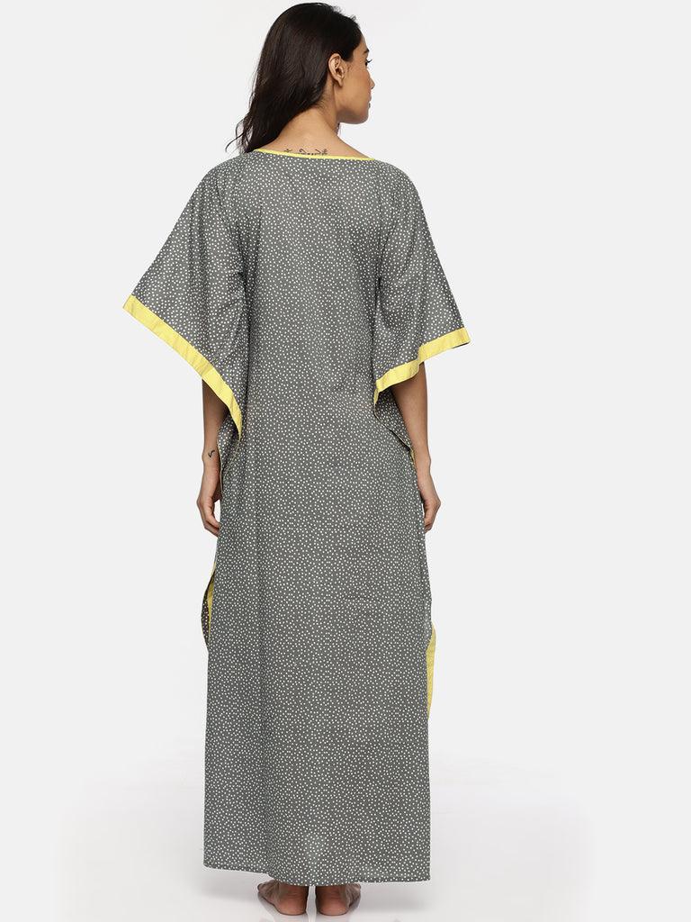 Grey Polka Maxi Cotton Kaftan