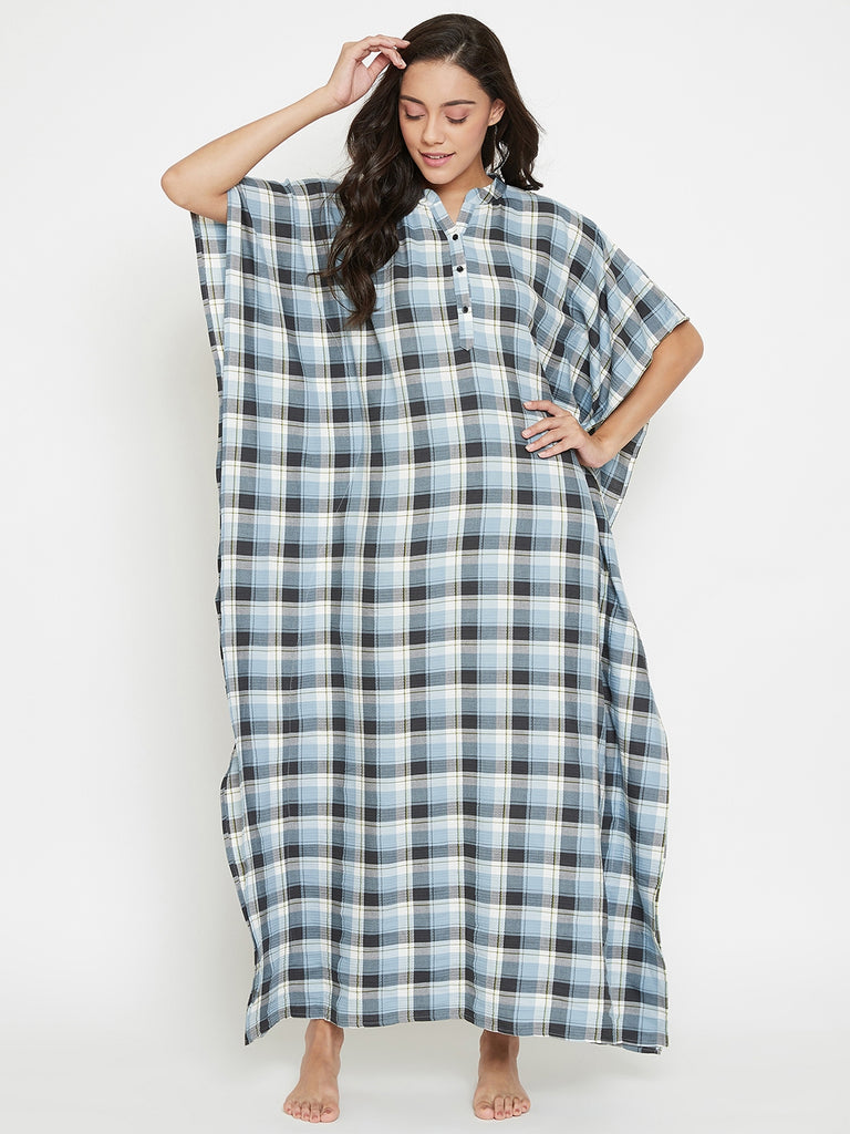 Blue Checks Loungewear Kaftan