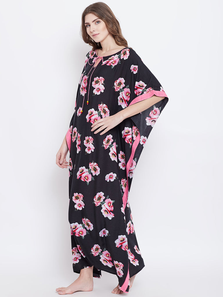 BLACK FLORAL PRINTED  KAFTAN NIGHTDRESS