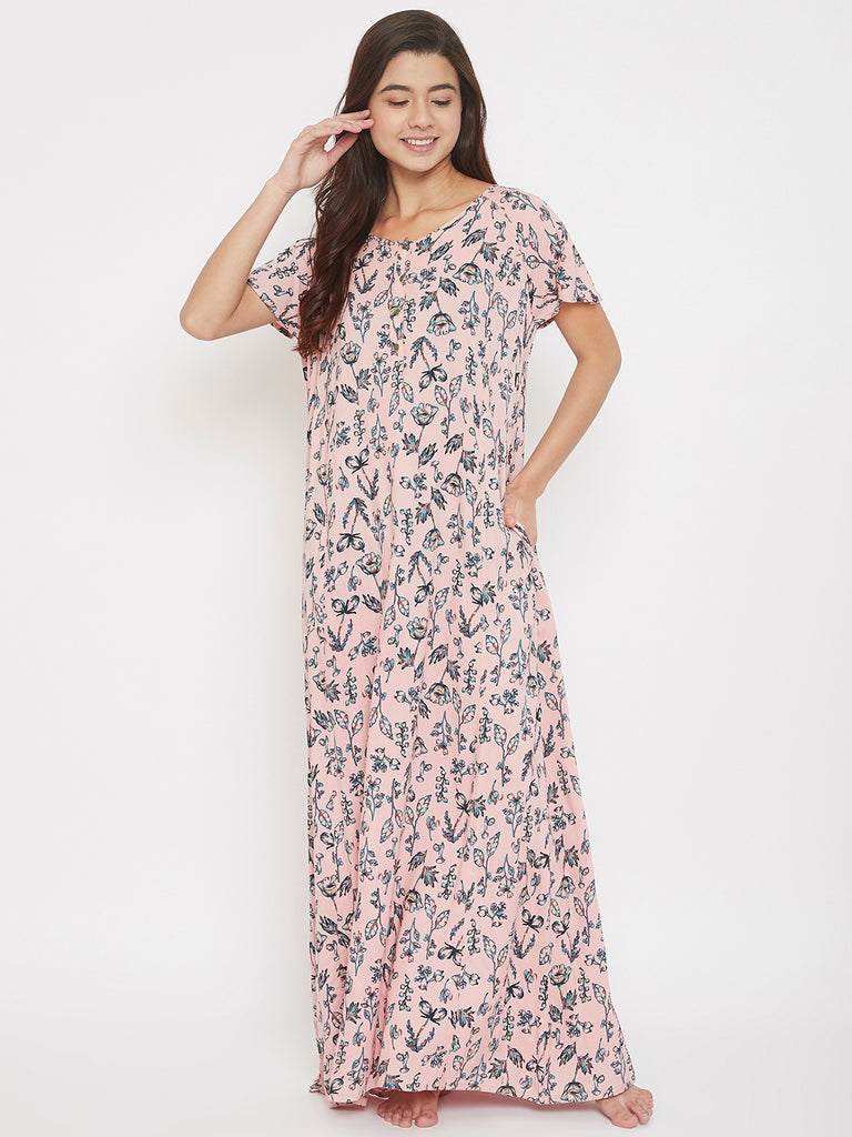 Pink Rose Printed Maxi Nightdress with Neck Placket