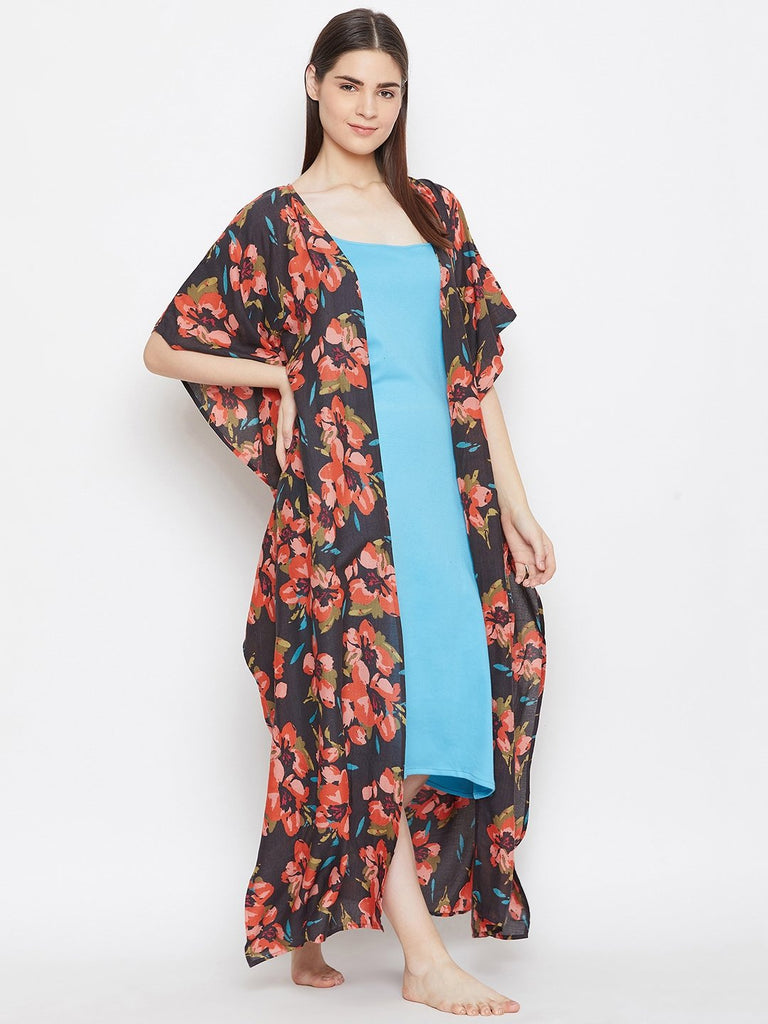 BROWN PRINTED KAFTAN GOWNSET WITH SLIP