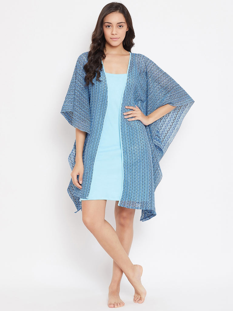 BLUE PRINTED NET KAFTAN GOWNSET