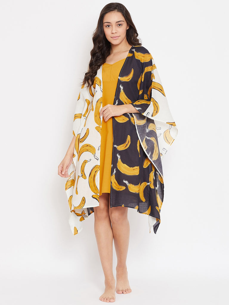 BANANA PUNCH KAFTAN GOWN SET WITH SLIP