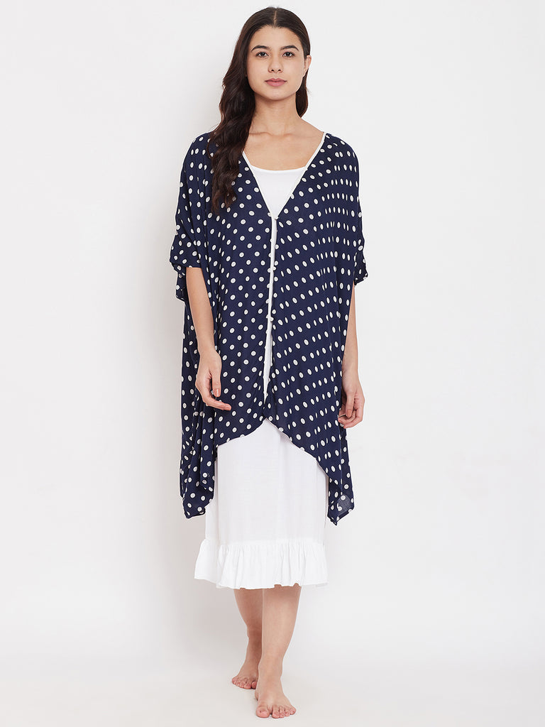 Polka Navy Kaftan with Inner Slip