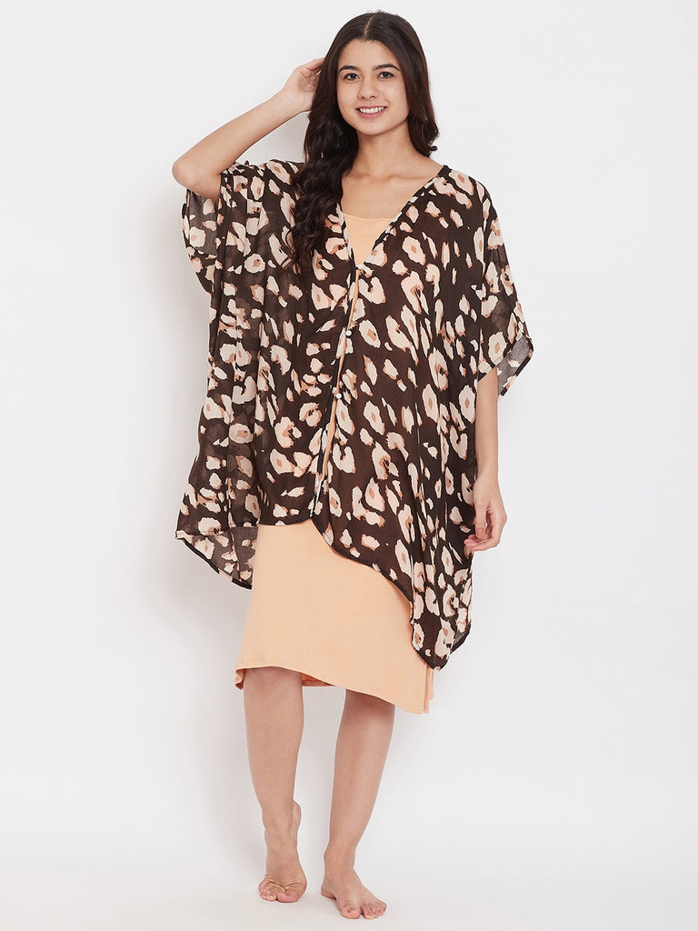 Brown Animal Print Kaftan Coverup with Slip