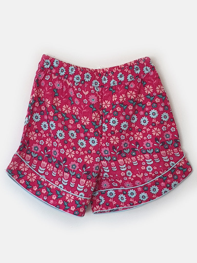 Fuschia Florals Girls Shorts Set