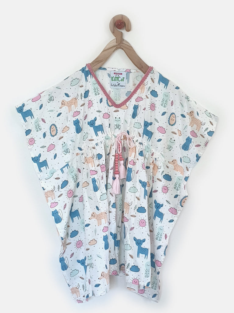 Cutesy Doodles Printed Knee Length Girls Nightdress