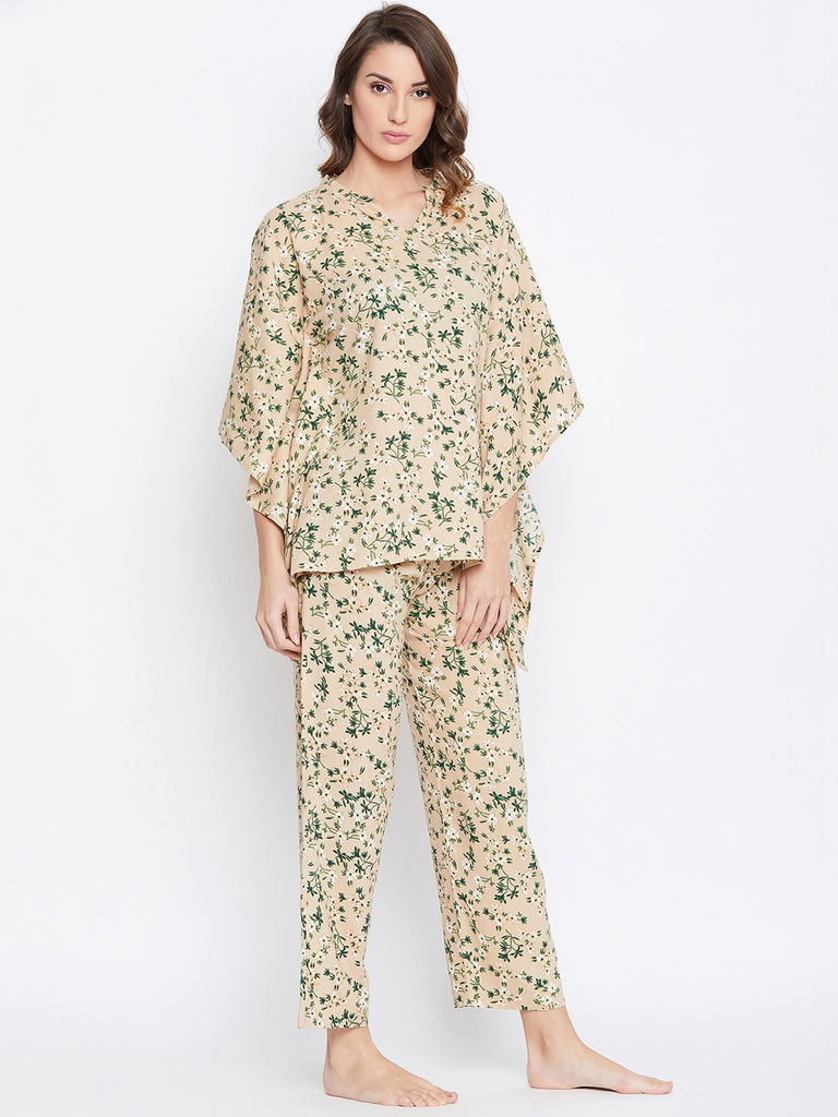 Beige & Green Printed Night Suit