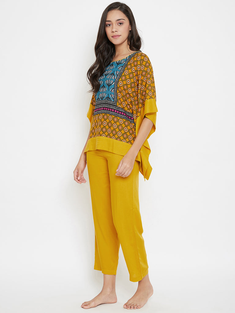 Mustard Magic Kaftan Pyjama Set