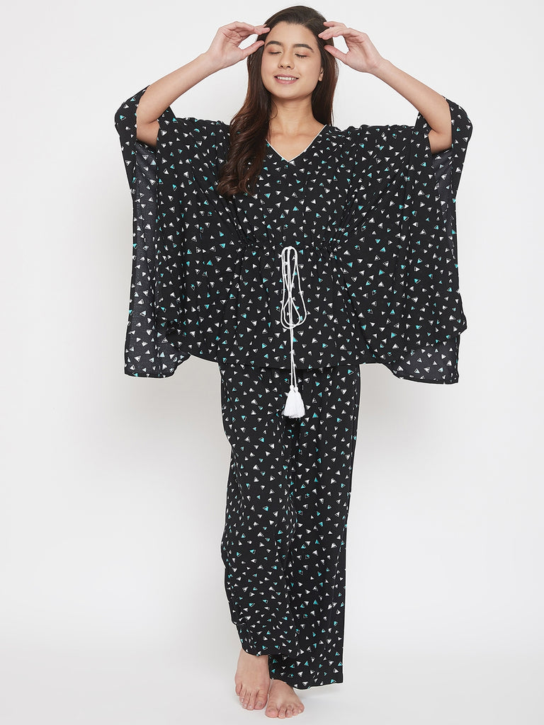 Digital Gemometric Print Black Kaftan Pyjama Set