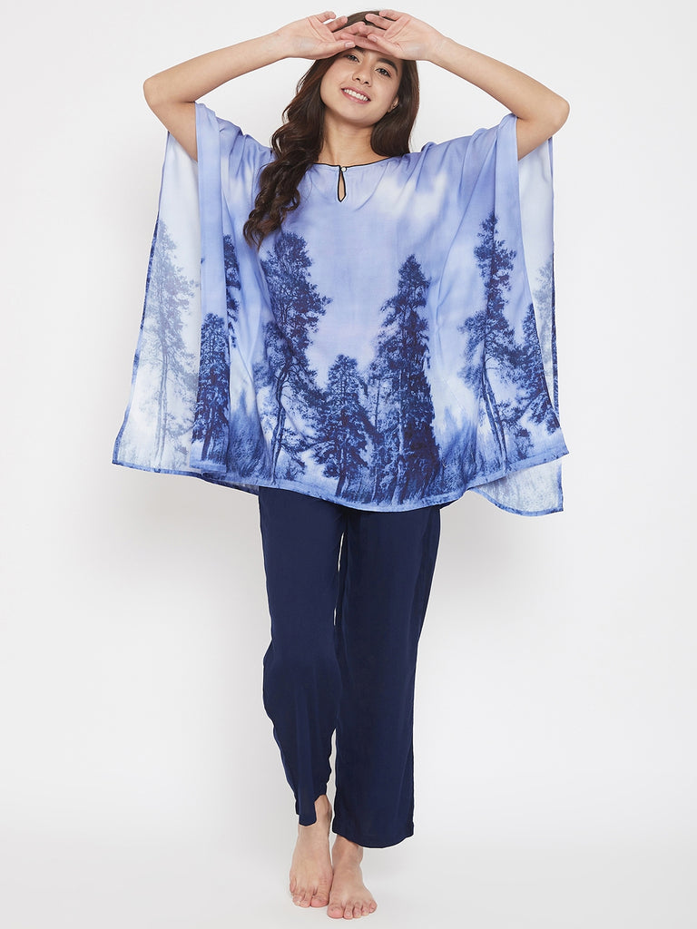 Shaded Digital Printed Blue Kaftan Pyjama Set