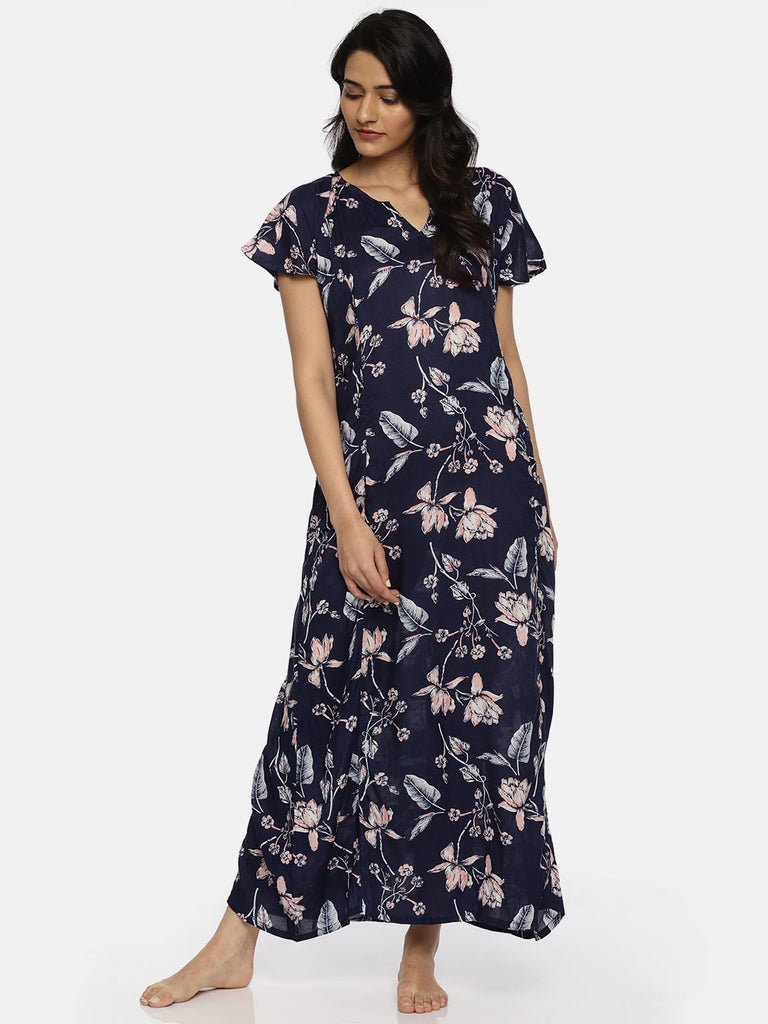 Blue Printed Nightdress