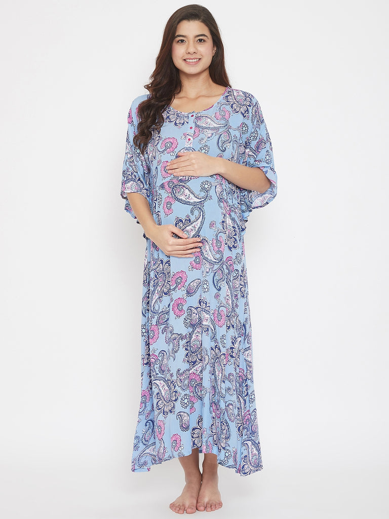 Paisley Printed Blue Maxi Maternity and Feeding Nightwear